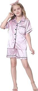 طقم بيجامة بناتي مكون من قطعتين قميص بأزرار سفلية وشورت ملائم للارتداء في النوم، وردي فاتح، 3-4 سنوات= بطاقة 8