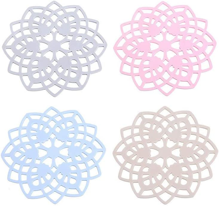 Super Leader Food Grade Kitchen Silicone Trivet Mats Silicone Trivet Set Silicone Mat for Kitchen Silicone Hot Pads Trivet Dish Pad Coaster Counter Mat Silicone Placemat Pot Holder (4pcs Lace Type)