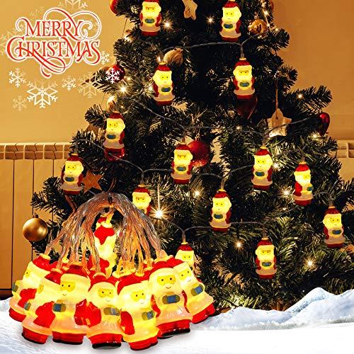 Papá Noel Cadenas De Luz 3m 20LED Papá Noel Luces de Cadena con Pilas Luces de Hadas para Navidad para Decoracion, Navidad, Fiesta