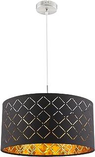 Lámpara de techo de tela con pantalla de 1 foco, lámpara de techo para dormitorio, color negro y dorado (lámpara de techo para salón, 40 cm, altura 140 cm)