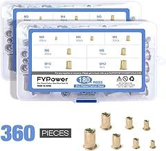 FYPower 360pcs M3 M4 M5 M6 M8 M10 M12 Carbon Steel UNC Rivet Nuts Rivnuts Kit, Yellow Zinc Plated Finish, Flat Head Threaded Insert Nutsert Assortment Kit Assort