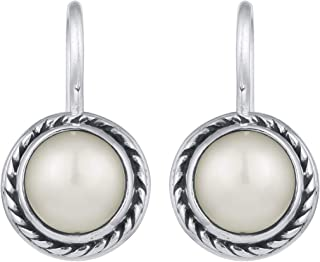 Peora 925 Sterling Silver Snow White Pearl Round Drop Fish Hook Earrings for Women Girls