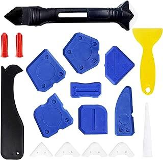 Hakkin 18 Pcs Caulking Tool Kit,3 in 1 Caulking Tool Silicone Sealant Finishing Tool,Caulk Nozzle Caulk Caps 5 Replaceable Pads for Door,Window,Kitchen,Bathroom,Toilet,Sink Joint Filling Sealing
