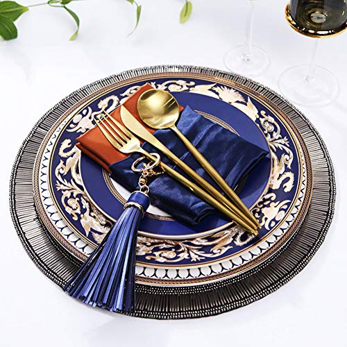 XCXDX Vajilla De Porcelana Pintada A Mano con Salvamanteles Hechos A Mano, Juego De Cubiertos De Oro, Juego De Cena De Belleza Oriental, Regalo Creativo