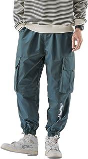 Pantaloni da Uomo con Coulisse in Vita Elastica Pantaloni Cargo Multitasche Casual Larghi alla Moda Sottili Estivi