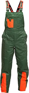 Pantalón de protección contra astillado WOODSafe clase 1, pantalón de bosque aprobado por KWF, peto verde / naranja, hombr...
