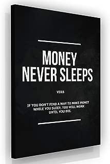 Money Never Sleeps Canvas Print Wall Art Office Decor Wolf of Wall Street Entrepreneur Motivation (36