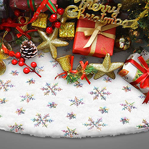 Christmas Sequin Tree Skirt 36 Inches with Sequin Colorful Snowflakes White Plush Tree Skirt for Xmas Indoor Outdoor Decorations