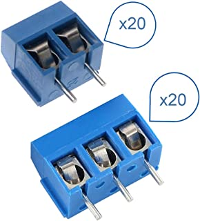 40pcs 2 Pin and 3Pin Screw Blue PCB Mount Terminal Block Connector 5mm Pitch for Arduino