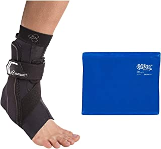 DonJoy Performance Bionic Ankle Brace – 60° Stay w/Stirrup (Black/Medium/Left) and Chattanooga ColPac Reusable Gel Ice Pack Cold Therapy - Blue Vinyl - (11 in x 14 in) - Value Bundle