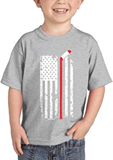 Red Line American Flag - Hockey Stick Infant/Toddler Cotton Jersey T-Shirt