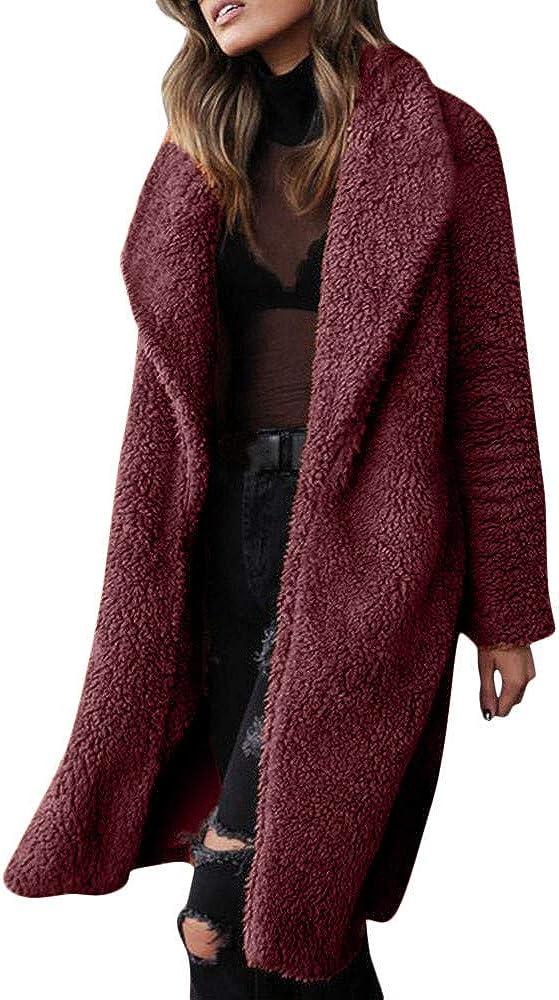 BCDshop Women Winter Cardigan Coat Alternative Manufacturer regenerated product dealer Faux Lapel Sleeve Long Fleece