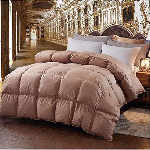 Hahaemall King Size Feather Duvet 100% Cotton Anti Dust Mite & Down Proof Fabric - Comfort - Warmth Without The Weight - Duvet Quilt - Anti Allergy-Coffee Color_150x200cm-2Kg