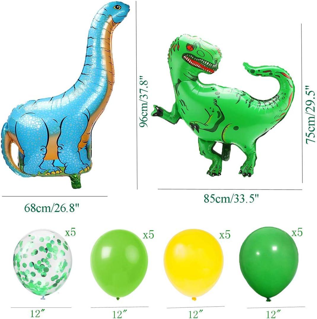 Geburtstag Deko Junge Brontosaurus Tyrannosaurus Rex Folienballons  Dinosaurier Happy Birthday Girlande mit Luftballons Grün und Gelb für  Dschungel ...