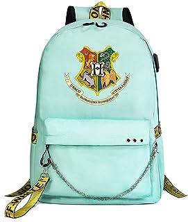 Mochila de Harry Potter, Mochila Informal para la Universidad, Insignia de Hogwarts Mochila Escolar Verde Estilo-1