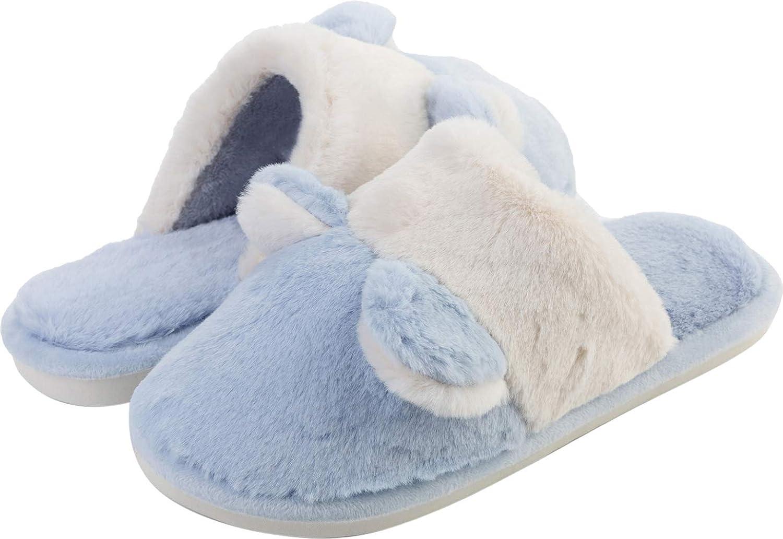 JINKUNL Womens Mens Furry House shoes Winter Warm Memory Foam Bedroom Slippers Indoor & Outdoor bluee
