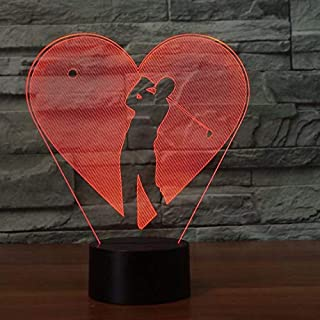 Jugar Modelo de golf Lámpara de ilusión óptica Lámpara 3D LED Lámpara de atmósfera acrílica de luz nocturna Lámpara moderna de 7 colores