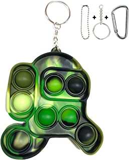 Among Us Pop It Keychain, Pocket portable anti-anxiety simple dimple, stress relief hand fidget toys with key chain, Silic...