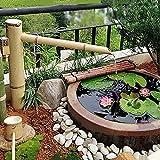 Decoración de Fuente de bambú, Fuente de bambú, caño de Agua con Bomba y Loto, esculturas de Cascada de jardín, Hechas de bambú Natural, 45 cm x 70 cm