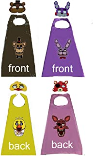 HeyFun 2 Sets Five Nights of Freddy's Costume 2-Sided Capes & Masks Cosplay Dress Up for Kids Halloween Party Supplies
