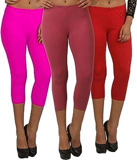 Fablab Women's 3/4 Capri Leggings_Cotton_Lycra Capri_CLS_190-3-15PMR,PinkMaroonRed,Free Size Combo Pack of 3.