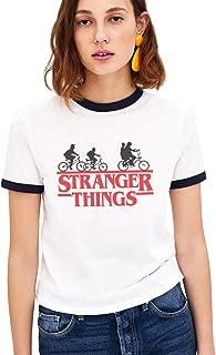 Shirt Ringer tee Stranger Things Camiseta Mejores Amigas Best Friend Impresión T-Shirt Manga Corta1 Pieza Retro Regalo Camisa Cuello Redondo Verano para Mujer