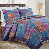Cozy Line Home Fashions Purple Blueberry Fuchsia Print Patchwork 100% Cotton Quilt Bedding Set, Reversible Coverlet, Bedspread Set (Purple / Blue, King - 3 Piece)