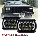 SXMA (2 Pcs) 5''x7' 6x7 inch CREE LED Headlights with High Low Beam DRL for Jeep Wrangler YJ Cherokee XJ H6054 H5054 H6054LL 69822 6052 6053 with Angel Eyes DRL(DOT Certified) (Black Pair)