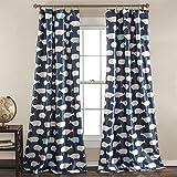 "Lush Decor, Navy Whale Curtains-Animal Ocean Print Design Room Darkening Window Panel Set for Living, Dining, Bedroom (Pair), 84"" x 52 84' x 52'"