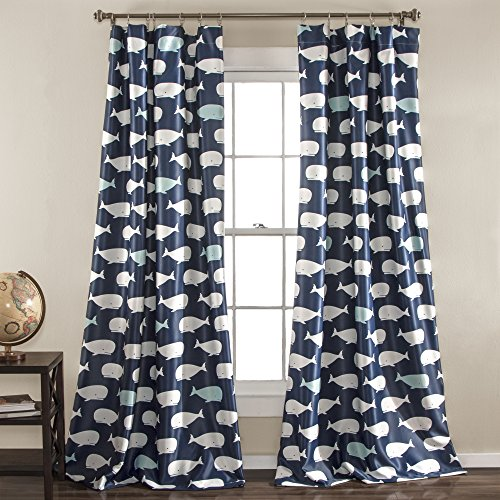 "Lush Decor, Navy Whale Curtains-Animal Ocean Print Design Room Darkening Window Panel Set for Living, Dining, Bedroom (Pair), 84"" x 52 84"" x 52"""