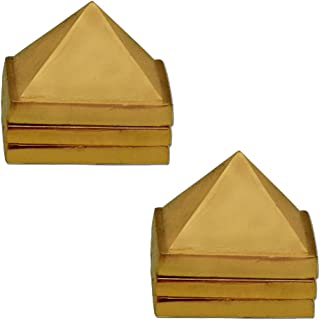 Divya Mantra Vastu Wish Multilayered 1 Inch Zinc Pyramid Having 91 Pyramids in Total - Golden, Set of 2