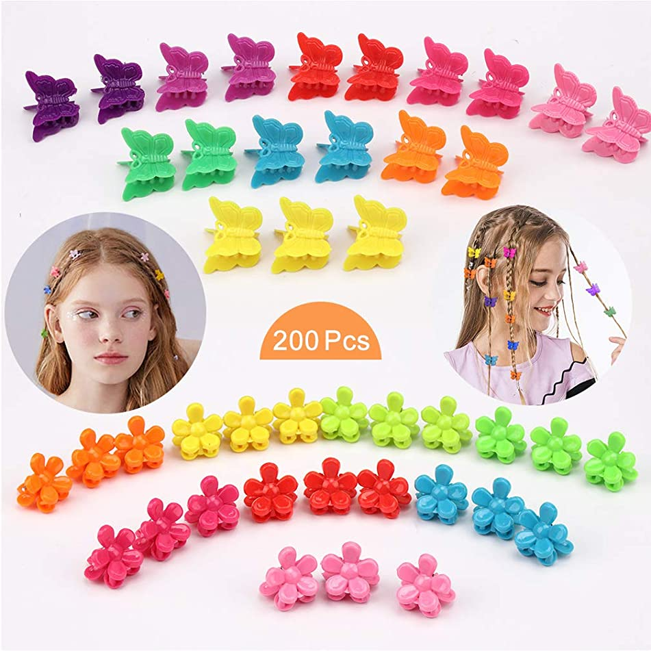TOBATOBA 200 Pieces Mini Hair Clips Mini Hair Claw Clip Colorful Plastic Hair Claw Clips Butterfly and flower Shape Hair Claw Hair Pin Accessory for Women Teenager