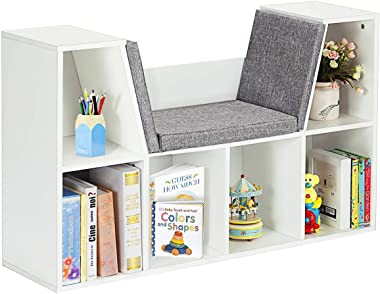 Costzon 6-Cubby Kids Bookcase w/Cushioned Reading Nook, Multi Purpose Storage Organizer Cabinet Shelf with Soft Cushion and T