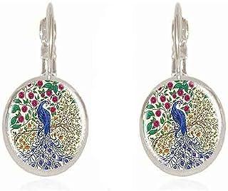 Bohemian Peacock Glass Cabochon Stud Earrings Fashion Jewelry Charms Christmas Gifts Ear Cuff