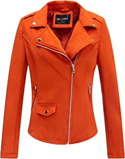Bellivera Womens Faux Suede Leather Short Jacket, Moto Jacket with 2 Pockets for Winter and Autumn