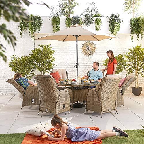 Nova Outdoor Living - Juego de comedor Carolina Outdoor de 6 asientos de ratán con mesa redonda de 1,35 m - Tejido de sauce medio redondo