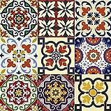Mi Alma - Conjunto de 24 piezas de pegatinas de azulejos tradicionales estilo Talavera para el baño y la cocina. Pegatinas fáciles de aplicar para decoración de la casa de 15,24 x 15,24 cm