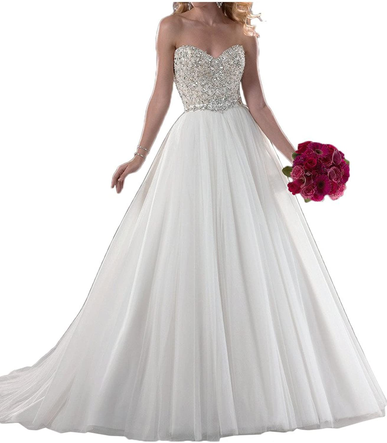 Avril Dress Sweetheart Empire Satin Wedding Gown Chapel Train Beading Rhinestone
