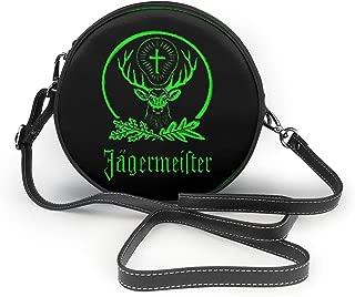 Jagermeister Leather Round Crossbody Shoulder Bag Top Handle Tote Handbag Bag