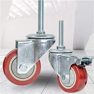 Wielen met remzwenkwielen Pu Caster Wheels M12 × 60mm Thread Stem Casters 4 inch Meubels Haevy Duty Caster Wheels 660 Lbs ...