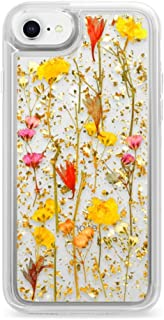 Casetify Real Flower iPhone 7/8 Case Pressed Dried Flowers with 24k Gold Foil Flake Hard Back Cover and Frost Shockproof Drop Proof Bumper and Wireless Charging Compatibility for Apple iPhone 7/8