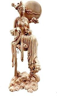 月の神 嫦娥 置物 木製 木彫 天女 仙女 嫦娥奔月 美女 美少女 美人像 女性像 ナチュラル 柘植 中国神話 中秋節 縁起物 祈る 開運 スピリチュアル プレゼント 贈り物 ギフト お土産 お守り 風水 飾り