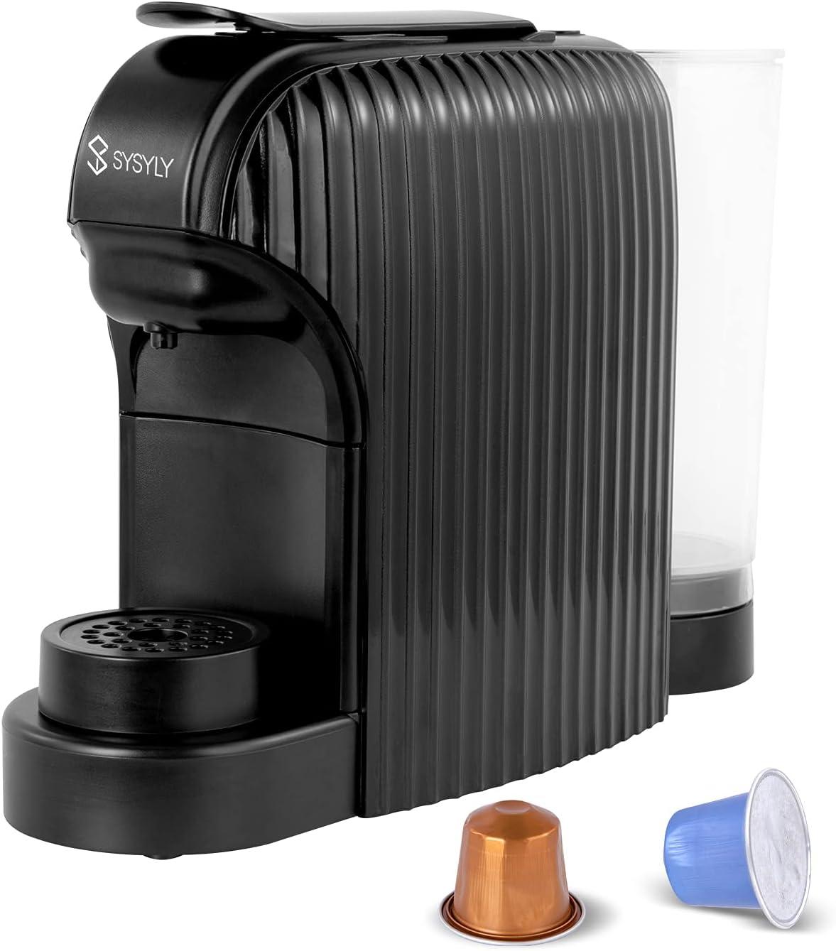 Máquina de café espresso, Máquina de café de cápsulas, Cafetera monodosis compatible con cápsulas Nespresso, bomba italiana de alta presión de 20 bar, depósito de 1,0 l, apagado automático, negro