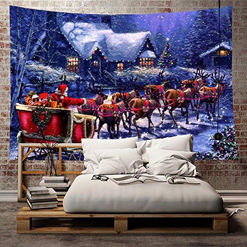 laamei Tapiz de Navidad Decoración Colgante de Pared Tapices Tela Feliz Navidad Impresión de Papá Noel Regalos...