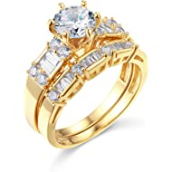 TWJC 14k Yellow OR White Gold... TWJC 14k Yellow OR White Gold Solid Wedding Engagement Ring and Wedding Band 2 Piece Set