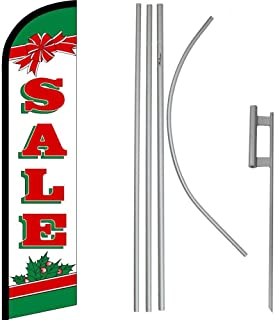 ALBATROS Sale Christmas RWG Windless Banner Flag with 16in Flagpole Kit/Ground for Home and Parades, Official Party, All Weather Indoors Outdoors
