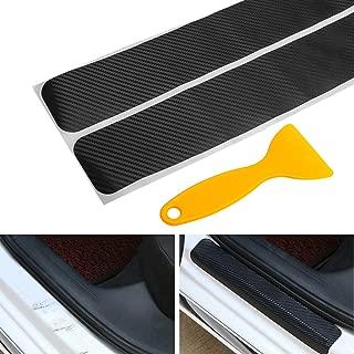 Big Autoparts 4 Pack Door Sill Protector 3D Carbon Fiber Anti-scuff Sticker Door Threshold Guard for Car, SUV, Off-road, Black