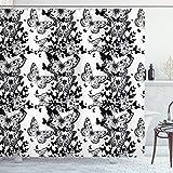 ABAKUHAUS Schwarz & Weiß Duschvorhang, Schmetterlings-Motiv, Hochwertig mit 12 Haken Set Leicht zu pflegen Farbfest Wasser Bakterie Resistent, 175 x 200 cm, Schwarz Weiß