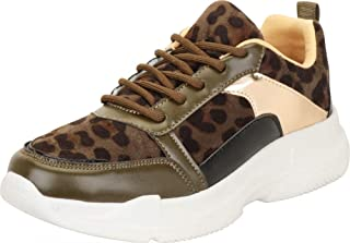 Cambridge Select Women's Low Top Retro 90s Ugly Dad Leopard Colorblock Lace-Up Chunky Platform Fashion Sneaker