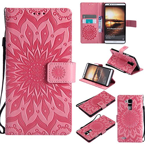 pinlu® PU Leder Tasche Etui Schutzhülle für Huawei Ascend Mate 7 (6 Zoll) Lederhülle Schale Flip Cover Tasche mit Standfunktion Sonnenblume Muster Hülle (Rosa)